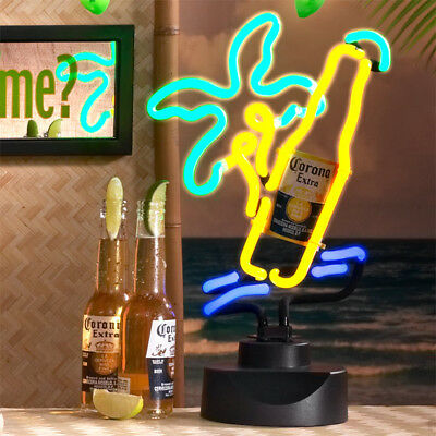 4-Pc. Set CORONA Bottle Neon Sign,Got Lime Mirror,and 2 Lime String Lights Decor