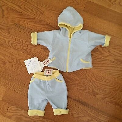 Hanna Andersson 50 NB 3m blue yellow 2pc set pants reversible hooded jacket NWT