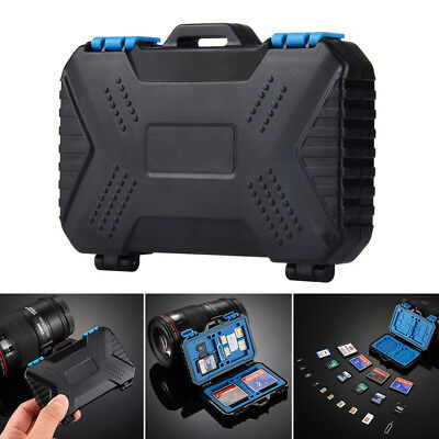 Black Waterproof Memory Card Storage Slots Box Case Holder TF/CF/SD Anti-shock