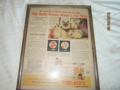Vintage Puss'n Boots Framed Print Ad