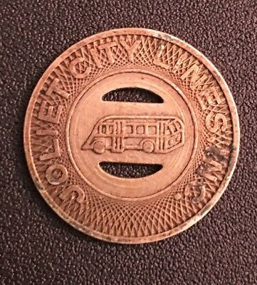 Vintage 1948 Joliet , IL Illinois City Lines Inc Transit Bus Token