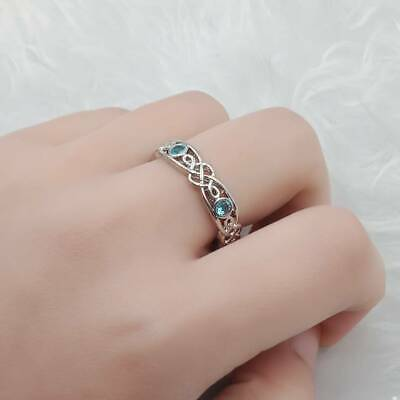 Simple Fashion Women Blue Rhinestone Silver Plated Ring Jewelry Gift Size 6-10