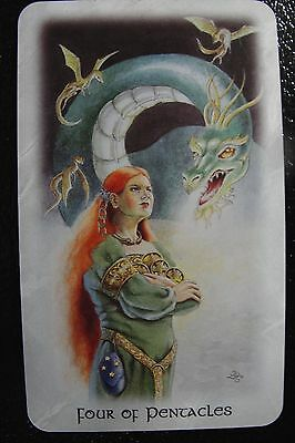 Four of Pentacles Celtic Dragon Tarot Single Replacement Card Excellent