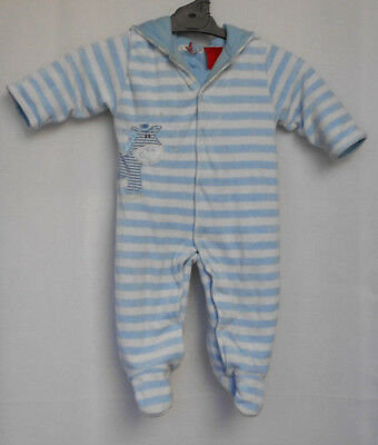 Ollie's Place Blue/White Stripe Thick Lined/Padded Winter/Sleep Suit/Romper Sz 0