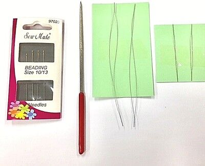 Diamond Bead Reamer Plus 8 Beading Needles -  4x Big Eye & 4x Gold Eye