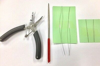 Beader Bent Nose Plier (With Teeth) + Bead Reamer & 4 Big Eye Beading Needles