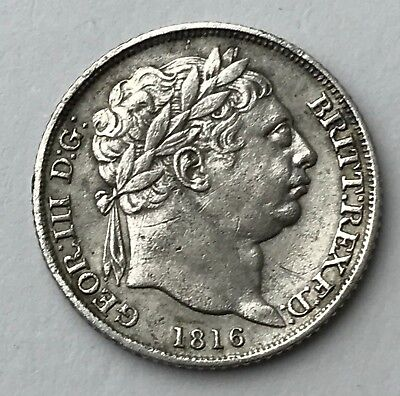 Dated : 1816 - Silver Coin - Sixpence - 6d - King George III - Great Britain