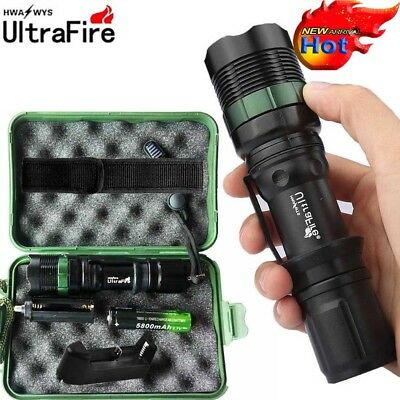Tactical ZOOM 50000LM T6 LED Lamp Military Flashlight Torch + 18650+Charger+Case