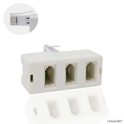BT Splitter Plug to Telephone Socket Adaptor / Male to Female / White / 3-Way /