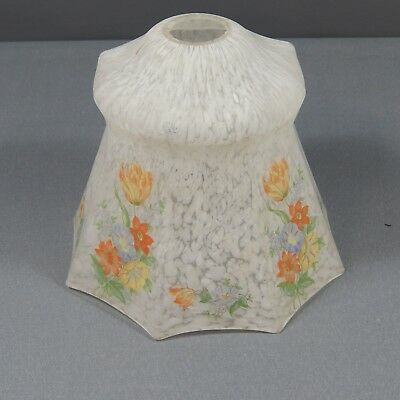 Small Vintage Art Deco Octagonal Glass Lampshade Flowers Pattern 30s 50's Light