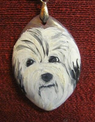 Havanese hand painted on pink, oval Agate pendant/bead/necklace