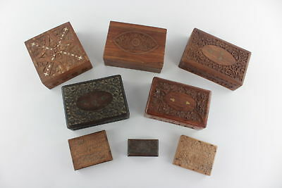 8 x Vintage CARVED WOODEN BOXED inc. inlaid panels & intricate engraved designs