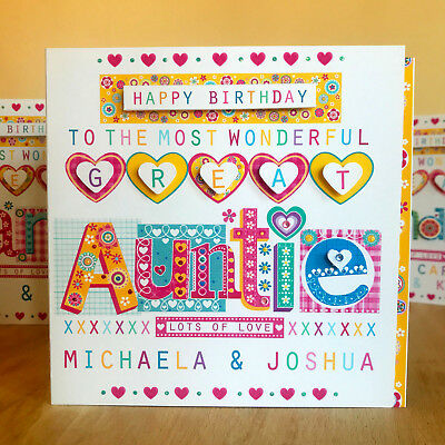 Great Auntie Birthday Card Personalised And Very Special GREAT AUNT