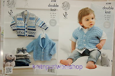 KINGCOLE 4199 BABY DK KNITTING PATTERN  16-26 IN -not the finished garments
