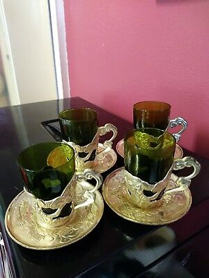 4 x Japanese Green Glass Sake Glasses/Cups Metal Holders & Saucers