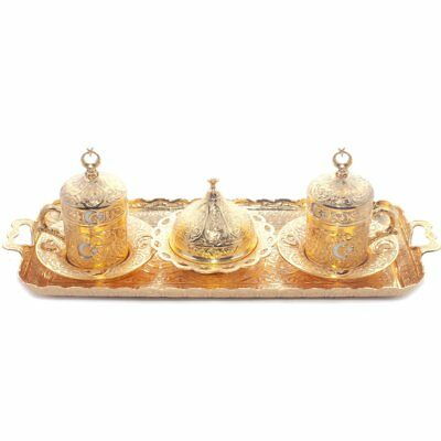 Ottoman Turkish Greek Arabic Coffee Espresso Serving Cup Saucer for 2 people