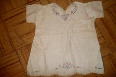Vintage Baby Little White Cotton Dress with Embroidery