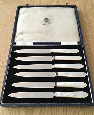 Mappin & Webb fruit knife set 6 piece stainless steel mother of pearl handles.