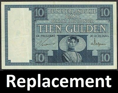 Netherlands 10 Gulden 1927 Zeeuws Meisje Replacement P43b / MWR RB1 / PL35.a3.R