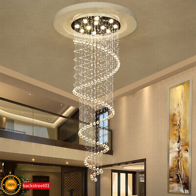 Modern Luxury LED Crystal Double Spiral Pendant Lamp Dining room Ceiling Light