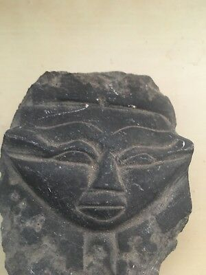 Rare Ancient Egyptian Queen Face In Black Basalt Stone (1279-1213 BC)