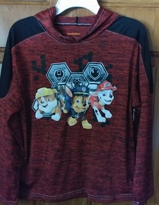 Paw Patrol Nickelodeon  Boys Red Long Sleeve Lightweight Hoodie Shirt  Size 7