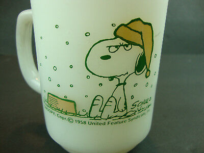 Vtg Funny Snoopy Cup Mug Fire King I Hate When It Snows On My French Toast!