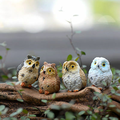 4X Garden Ornament Miniature Owl Resin Figurine Craft Pots Garden Home Decor