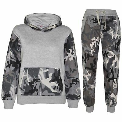Kids Boys Girls Tracksuit Designer Camouflage Contrast Top & Bottom Jogging Suit