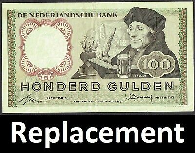 Netherlands 100 Gulden 1953 Erasmus Replacement (CP-VX type2) P88 / MWR RH17