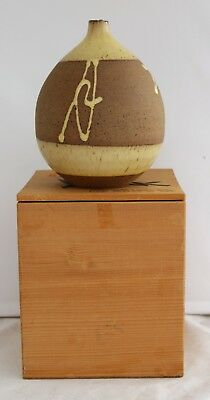 Japanese Toyota Pottery Vase/Jar In Wood Box