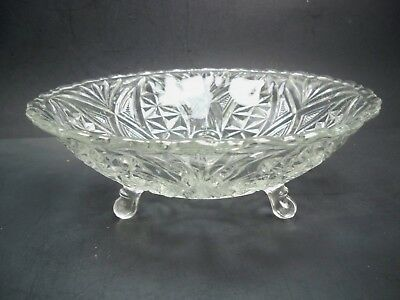 "Vintage Depression Anchor Hocking Prescut 9 1/4"" Footed Bowl Star of David Star"