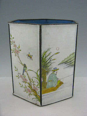 "6"" Vintage Chinese Enamel on Copper Painted Angling Flowers Birds Bat Brush Pot"