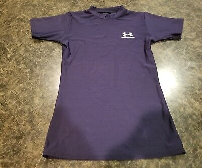 Boy's Under Armour Short Sleeve Compression Shirt-Sz Youth Medium-Navy Blue-NICE