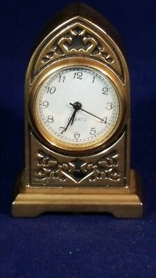 Collectable Miniature Clock - Brass Effect Mantle Clock retro Quartz - working