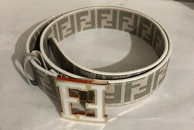 Men's White Fendi Belt