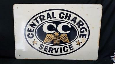"Original Central Charge Service Metal Advertising Sign 36""x 24"""
