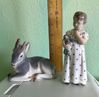 Two Royal Copenhagen Figurines - Girl with Doll and Deer