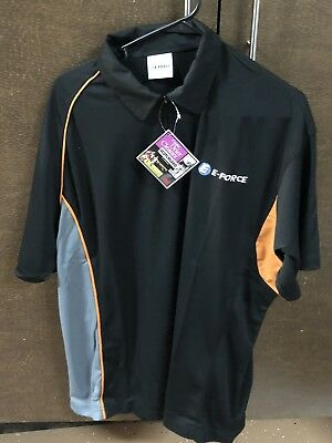 E-Force Racquetball Polo - Large Black With Orange Accents