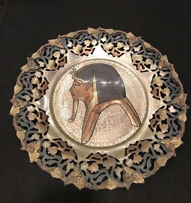 """100% Copper Hand Made Egypt  15 1/2 """" Enormous Hammered & Filigree Plate"""