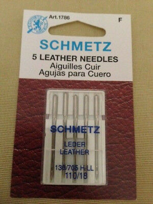 Lot Of 5 Schmetz Leather Needles 130/705 H-Ll  110/18 1786 New