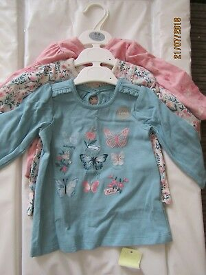 Baby Girls 3 Pack Of Long Sleeved Tops, Brand New, 6-9months