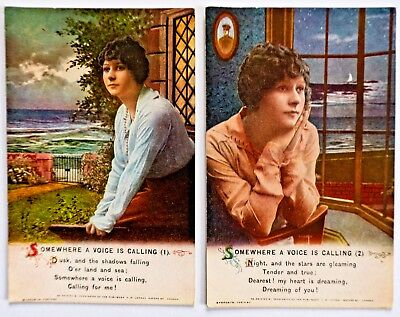 WW1 Bamforth Song cards full set -SOMEWHERE A VOICE IS CALLING 4975 - 2 Card Set
