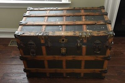 Wood Metal Steamer Trunk Vintage Antique Farmhouse W.H.L. Lebanon Pennsylvania