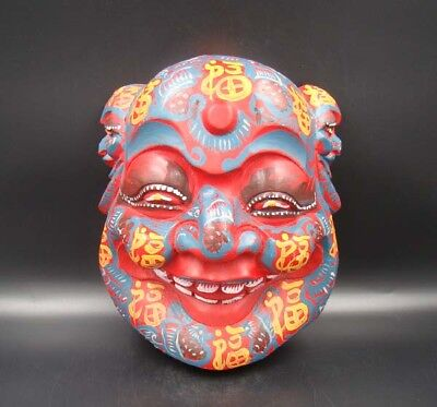 260mm Handmade Carving Painting colored drawing wood Mask Smiling Face Buddha