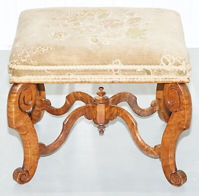 Very Rare 18Th Century Georgian Footstool Stunning Timber Birdseye Maple Regency