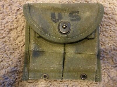 US Army M-1 Carbine - two pocket canvas ammo pouch - inva#128
