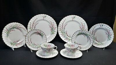 Royal Doulton England Gold H4827 Bell Heather Set of Two 5 Piece Place Settings