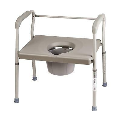 Duro-Med DMI Medical Bedside Commode Chair, Heavy-Duty Steel Frame