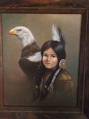 Large K Jesser Native American girl & Bald eagle original signed Oil Painting